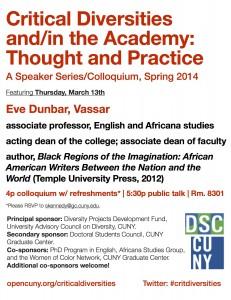 CritDiversities Eve Dunbar flyer
